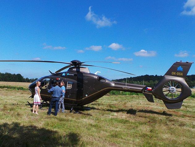 Filmaři natáčeli na Sněžníku scény s vrtulníkem.