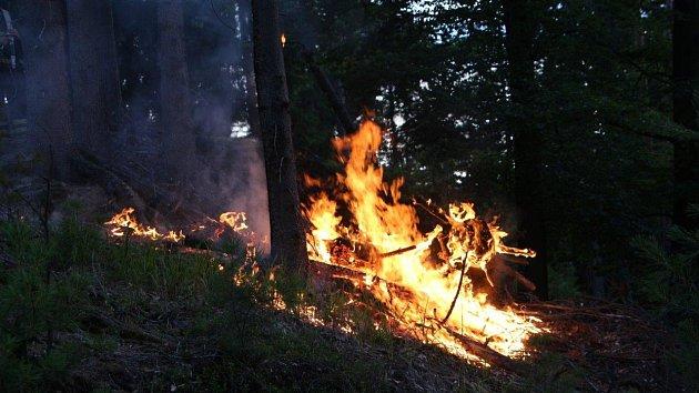 V Národním parku České Švýcarsko hořel les