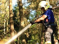 Požár v lese na skalním masivu u Maxiček.