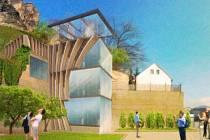 Návrh děčínských umělců na možné využití výtahu na Pastýřskou stěnu.