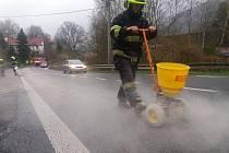 Skvrnu na hlavním tahu Jílovým vyrazili likvidovat hasiči.