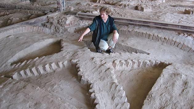 Jarmila Podrábská ukazuje atypické pole vrchní části kleneb zámecké konírny, jejíž rekonstrukce by měla skončit ještě letos.