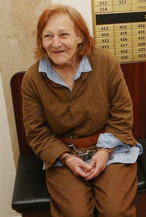 Žena obviněná z vraždy u soudu v Děčíně.
