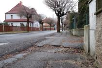 Jarošova ulice ve Varnsdorfu před rekonstrukcí.