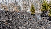 V Krásné Lípě hořely dva hektary louky.