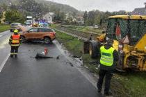 Dopravní nehoda osobního auta v Martiněvsi.