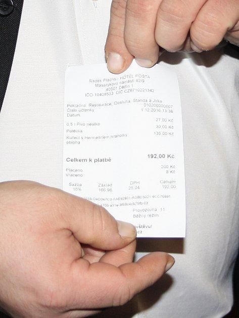EET pokladna vjedné zděčínských restaurací.