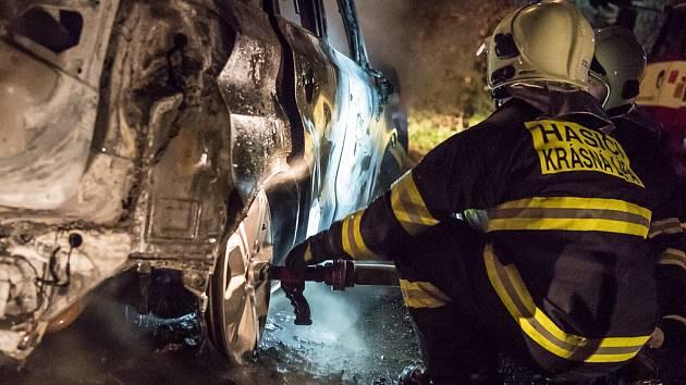 Požár auta v Doubici.