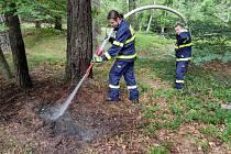 Hasiči likvidují požár lesa u Děčínského Sněžníku