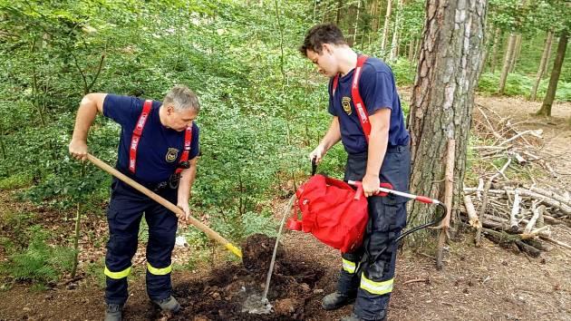 Na Kvádrberku hořelo, les zapálili vandalové nedopalkem.