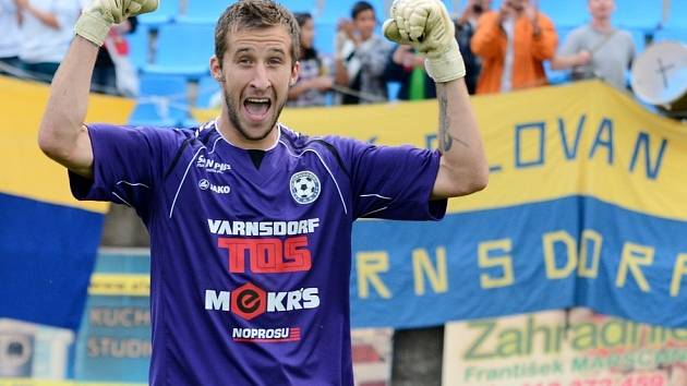 RADOST. Brankář Radek Porcal se raduje po zápase s Teplicemi.
