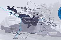 Vyobrazení cedule, na kterém je zřetelný celý okruh, který se nazývá Dráha národního parku.