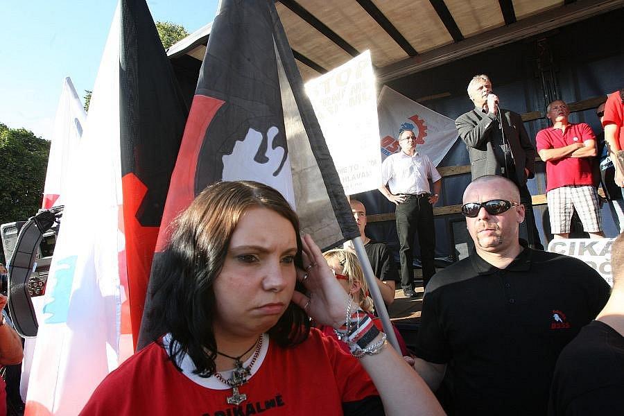 Demonstrace Dělnické strany sociální spravedlnosti Varnsdorf
