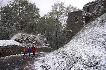 Na jiřetínské kopce napadl první sníh