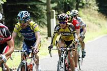 DALŠÍ ÚSPĚCHY! David Jeřábek z Sweep cycling Eltech (na snímku vpravo ve žlutém) opět zářil. Dařilo se mu jak ve Skalici u České Lípy, tak i v domácím prostředí okolo Děčína.