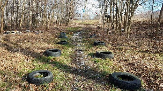 """Lesík v Horním Jindřichově """"zdobí"""" desítky pneumatik."""