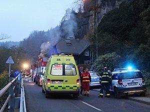 Požár domu ve Hřensku
