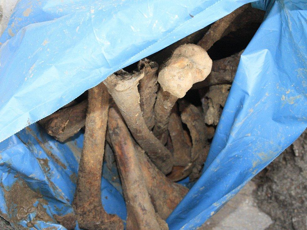 Stavba haly odhalila lidské kosti.