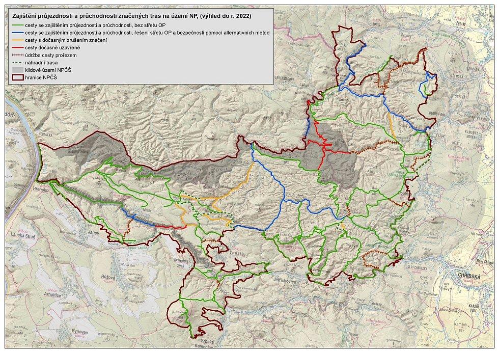 Plán strategie údržby cest v národním parku.