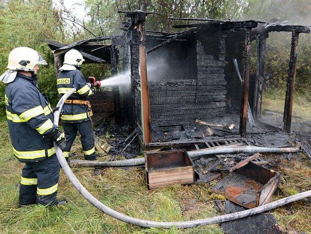 Požár chaty ve Varnsdorfu.