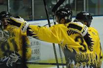 DĚČÍN NEBODOVAL. Z výhry 6:2 se radovali hokejisté Sokolova.