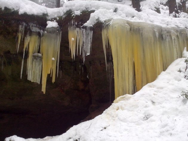 Ledopády v Národním parku České Švýcarsko.
