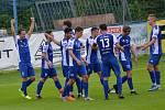Radost fotbalistů Vlašimi, kteří doma porazili Varnsdorf 2:1.