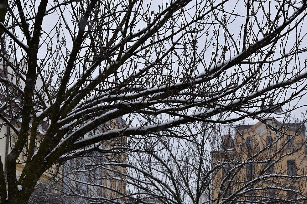 Děčín zasypal v povelikonočním týdnu sníh.
