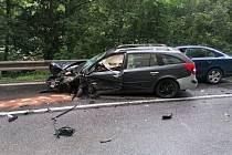 Dopravní nehoda v Teplické ulici v Děčíně.