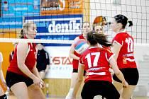 VÝHRU SI ODVEZLY STŘEŠOVICE. Děčínské volejbalistky Jana Procházková (17) a Kateřina Suchoňová (12) se snaží odehrát míč na vlastní polovině.
