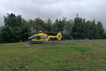 Vrtulník v akci.