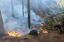 Požár lesa v Prostředním Žlebu.