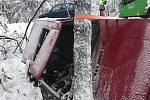 K vážné dopravní nehodě došlo v Lísce, u České Kamenice, v pátek odpoledne.