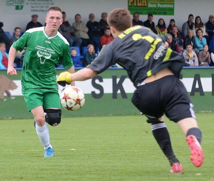 FOTBALISTÉ VILÉMOVA (zelené dresy) doma porazili vedoucí Litvínov 2:0.
