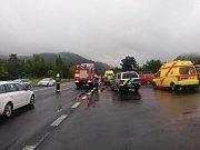 Vážná dopravní nehoda u Dobkovic.