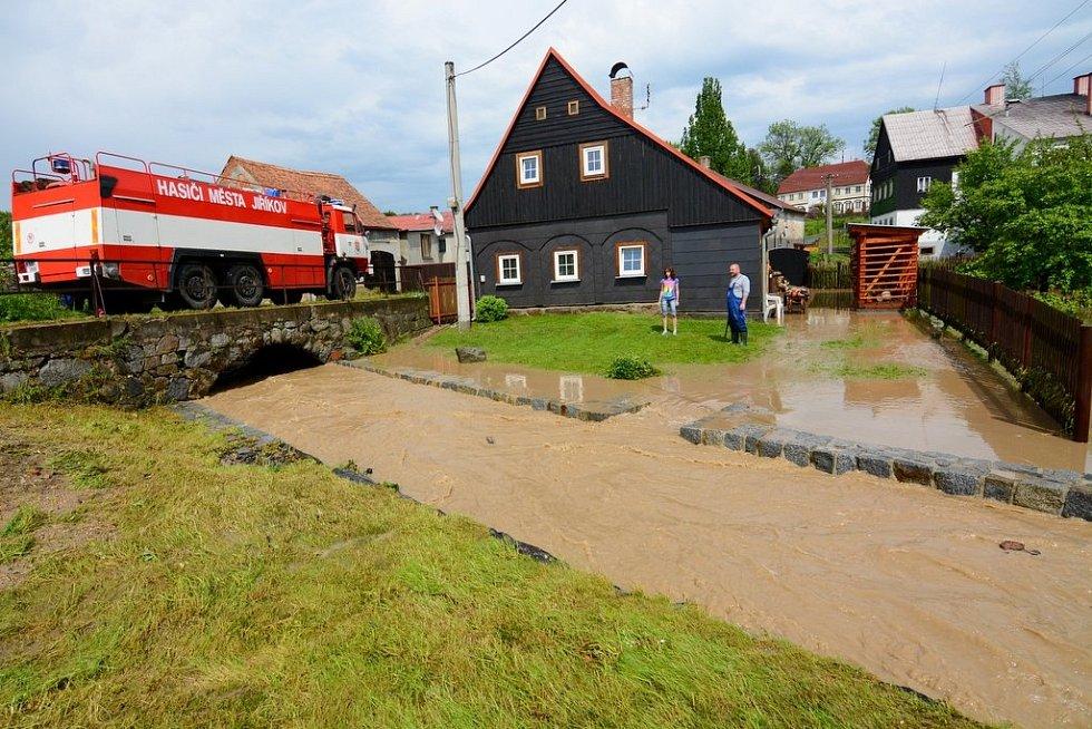 Blesková povodeň smetla Jiříkov
