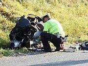 Dopravní nehoda motorky a sanitky v Křešicích.