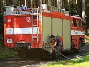 Požár lesa v Národním parku České Švýcarsko.