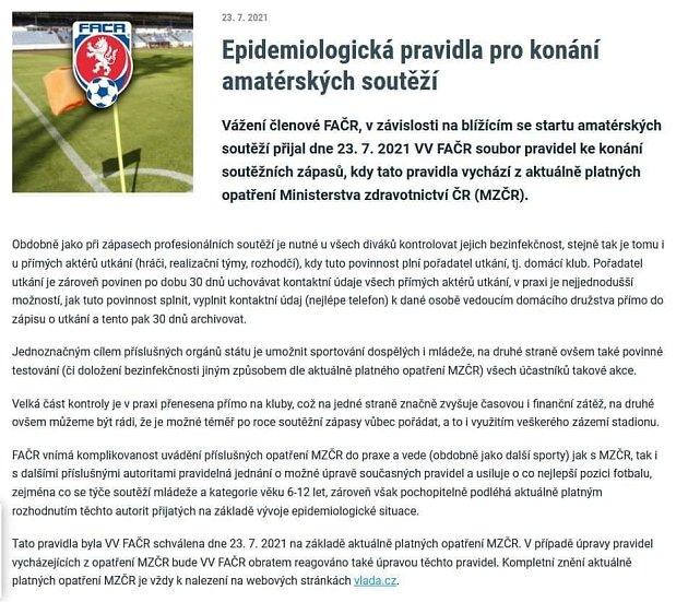 Epidemiologická pravidla pro konání amatérských soutěží.