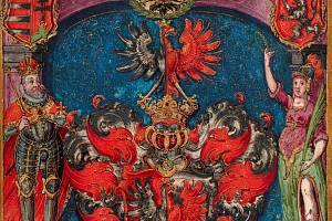 Pražský malíř okolo roku 1600: Erb (výřez) zerbovního privilegia neznámé osoby (soukromá sbírka vČR)