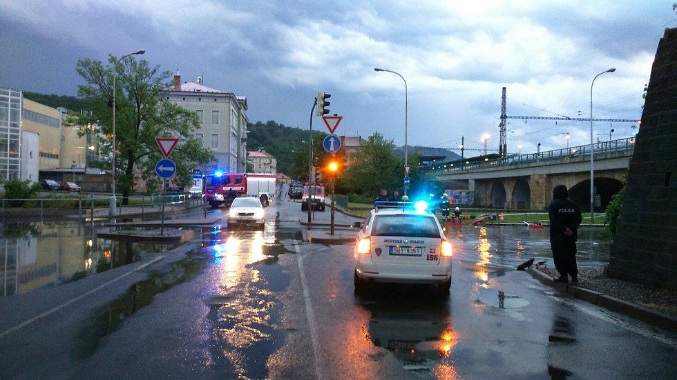 Zatopené Pětimostí v Děčíně.