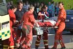 Zásah záchranářů u pobodané ženy v Rumburku.
