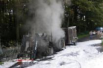 Traktor vzplanul kvůli technické závadě