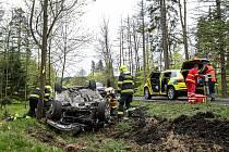 Dopravní nehoda pod Šébrem.