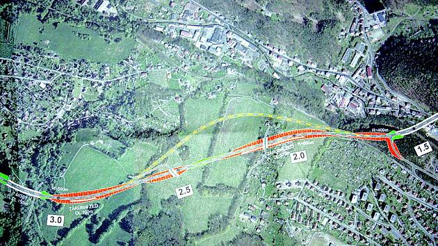 Nová varianta děčínského přivaděče k dálnici D8, který by vedl v tunelu pod Pastýřskou stěnou a vyústil u dnešní mototechny