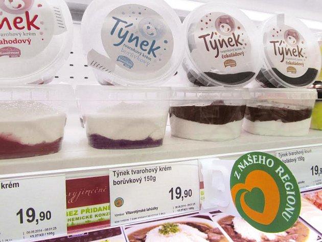 Označení regionálních výrobků v supermarketu Trefa
