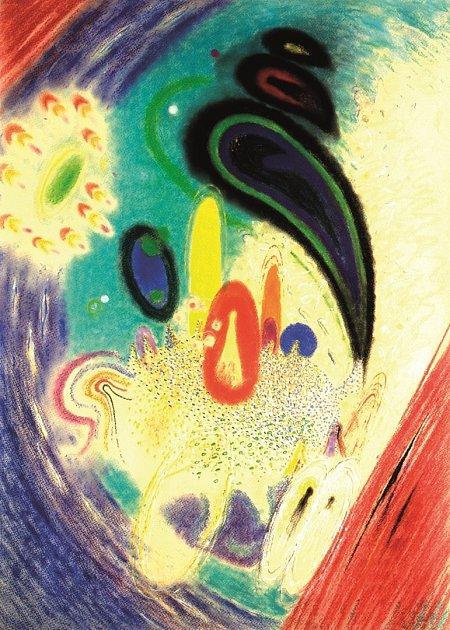 Karel Malich (1924–2019), Za stolem, 1983–1984, pastel na papíře