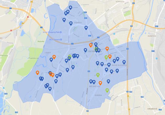 Mapa Ostravy-Jih smodře zaznačenými návrhy letošního ročníku.