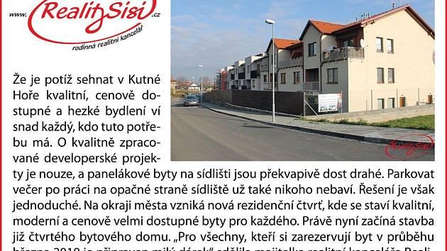 Nové byty v Rezidenční čtvrti Kutné Hory.