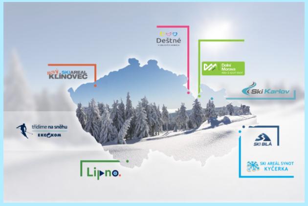 Letos mohou návštěvníci tuzemských hor po celou zimní sezónu třídit v těchto 7 lyžařských areálech. Dohromady v nich bude k dispozici 27 sad barevných nádob na tříděný papír a plasty.